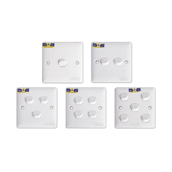 LEMAX 10AX Flush Switches (1, 2, 3, 4, 5 Gang) SIRIM