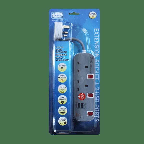 LEMAX USB Extension Socket (Grey) ES-312U Packaging