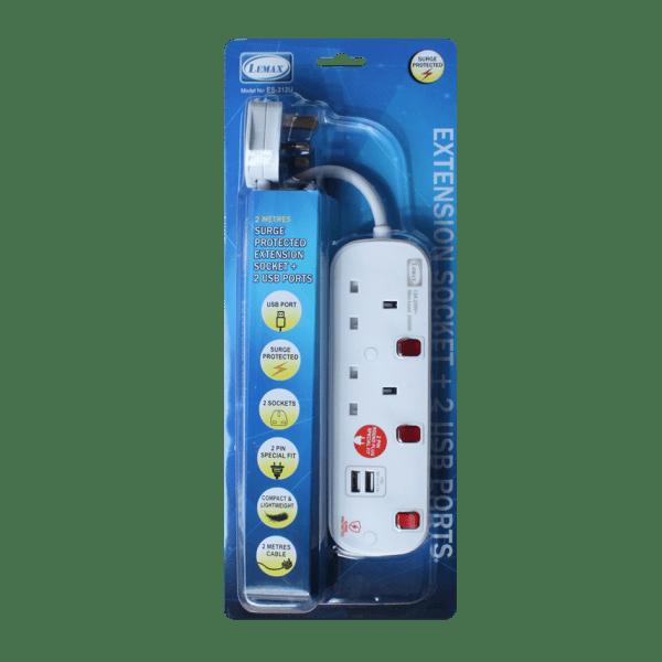 LEMAX USB Extension Socket (White) ES-312U Packaging
