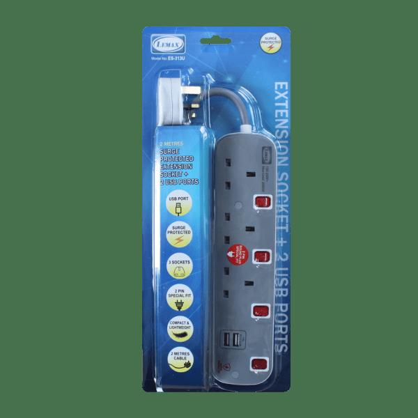 LEMAX USB Extension Socket (Grey) ES-313U Packaging