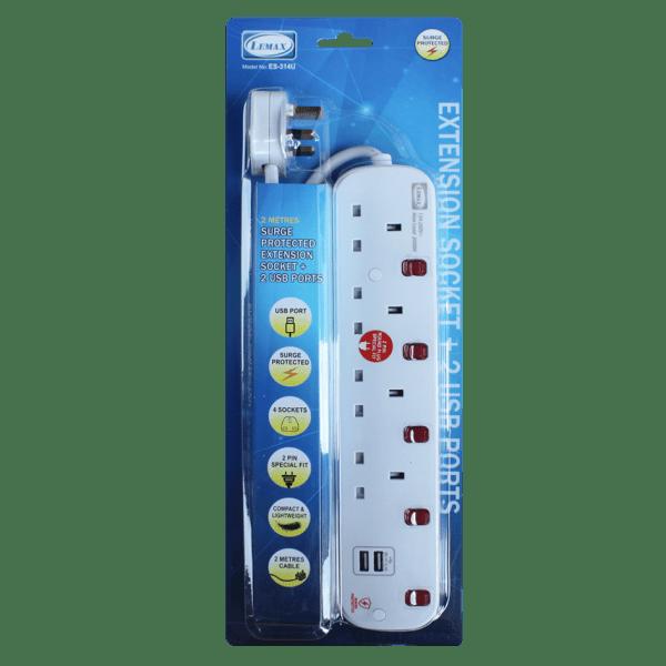 LEMAX USB Extension Socket (White) ES-314U Packaging