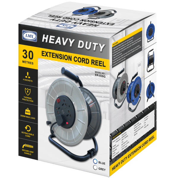 LMX Heavy Duty Extension Cord Reel Grey