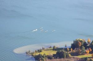 University of Michigan women's rowing team on Lake Leelanau