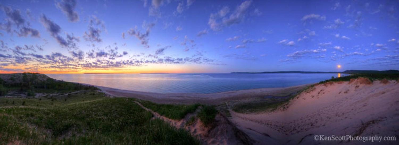 Lake Michigan ... solstice sunset, moonrise by Ken Scott Photography