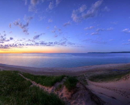 Lake Michigan ... solstice sunset, moonrise by Ken Scott