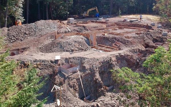 pouring the concrete foundation