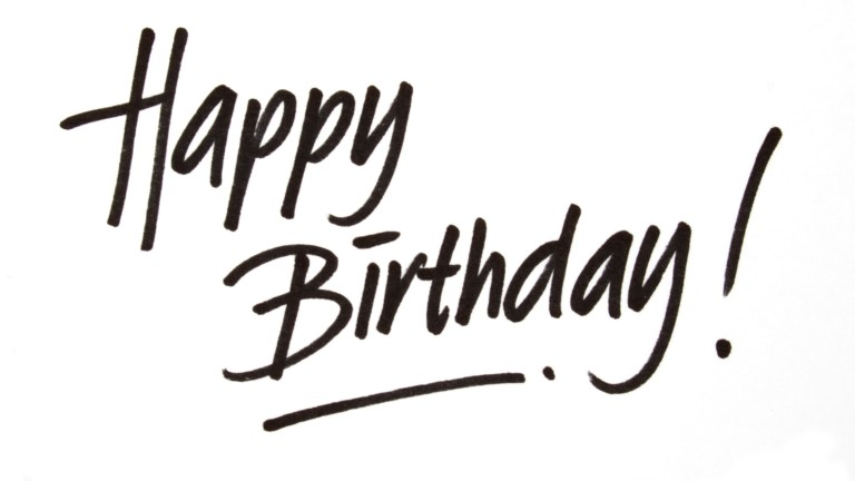 happy birthday hand written