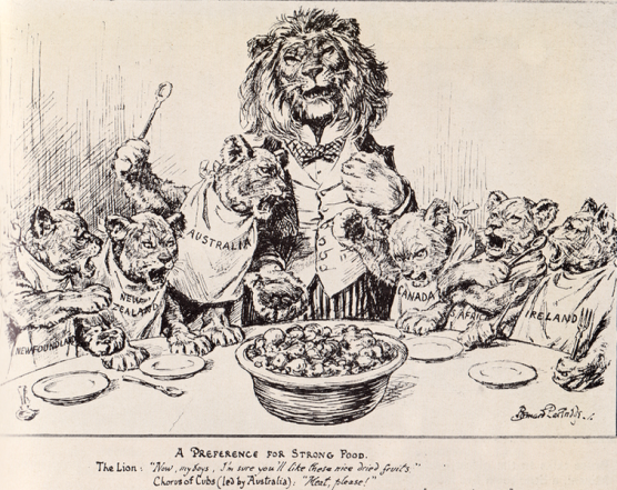 A picture of a Lion representing Britain giving poor quality scraps to his cubs (representing the commonwealth), the picture has relevance now in relation to the Commonwealth trading block