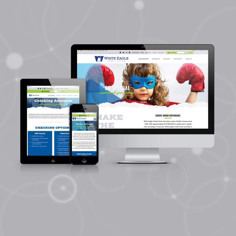 white eagle custom website redesign
