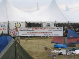 Tent was used previously to host a big Bush fundraiser!