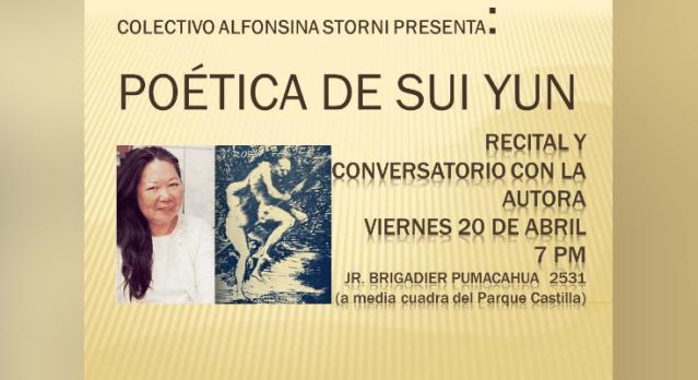 'Poética de Sui-Yun': Organizan recital y conversatorio con la autora de 'Rosa fálica'