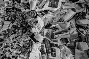 A mess of newspapers, because news is a mess.