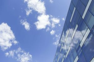 Image of a building against a blue sky.