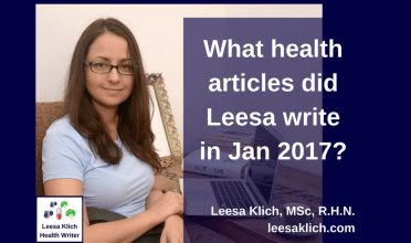 What health articles did Leesa write in February 2017?