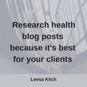 research health blog posts for clients