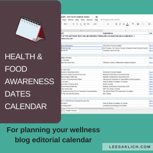 Health & food awareness dates calendar