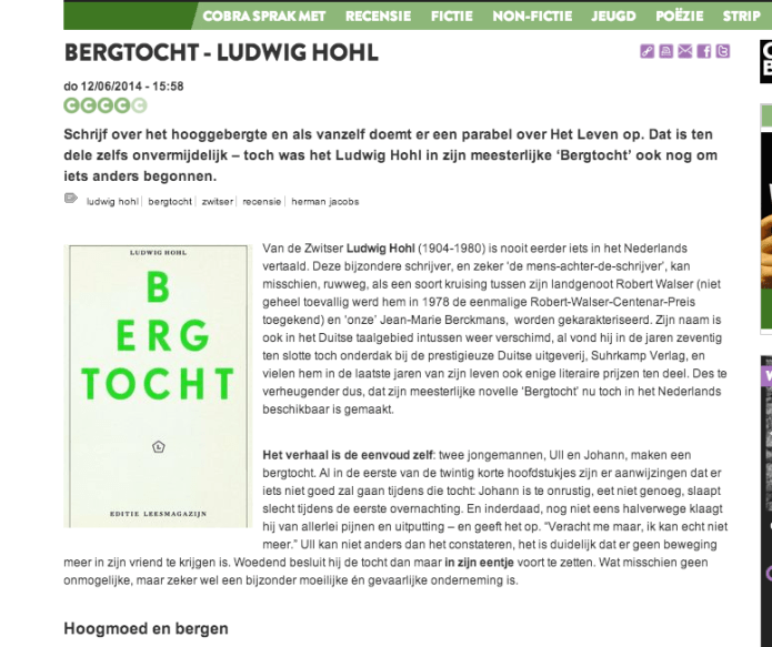 ernan Jacobs over Bergtocht van Ludwig Hohl
