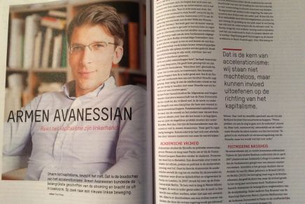 #Acceleratie, Theo Ploeg over Armen Avanessian in Gonzo Circus nov-dec, p. 46-49