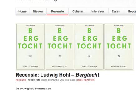Recensie: Ludwig Hohl – Bergtocht  19 FEB 2015 DOOR JOHANNES VAN DER SLUIS   Tzum 19 Feb 15