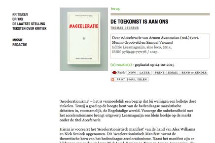 DE TOEKOMST IS AAN ONS  Over #Acceleratie van Armen Avanessian (red.) (vert. Menno Grootveld en Samuel Vriezen) Editie Leesmagazijn, Thomas Decreus