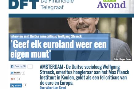 Interview met Duitse euro-criticus Wolfgang Streeck 'Geef elk euroland weer een eigen munt', Albert Jan Zwart