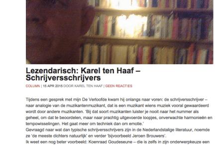 Lezendarisch: Karel ten Haaf – Schrijversschrijvers over 'Een verdomd goede jeugdschrijfster & andere verhalen' (Leesmagazijn, z.p. 2015) van Koenraad Goudeseune, Tzum 15-4-15