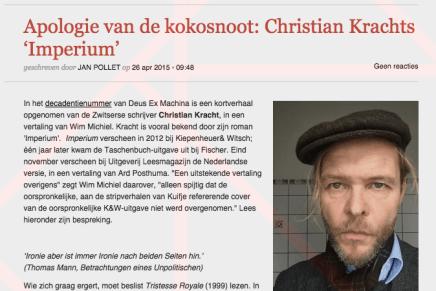Apologie van de kokosnoot: Christian Krachts 'Imperium' geschreven door JAN POLLET / Wim Michiel