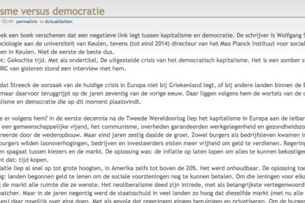 Kapitalisme versus democratie, recensie Gekochte Tijd, Wolfgang Streeck, weblog van Fred Tak