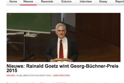 Nieuws: Rainald Goetz wint Georg-Büchner-Preis 2015 NIEUWS | 13 JUL 2015 DOOR RIEUWERT KROL