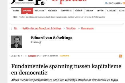 Fundamentele spanning tussen kapitalisme en democratie, Joop, 28-7-15, Eduard van Scheltinga