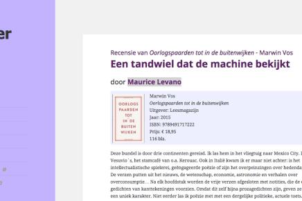 Een tandwiel dat de machine bekijkt, Maurice Levano, Meander Magazine
