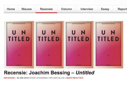 Tzum Recensie: Joachim Bessing – Untitled – Johannes van der Sluis | 18 JAN 2016