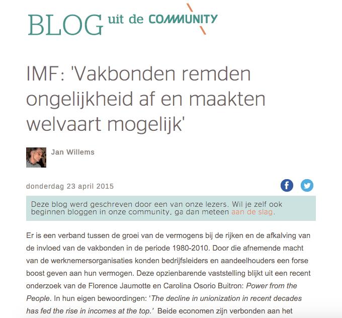 MF: 'Vakbonden remden ongelijkheid af en maakten welvaart mogelijk' Jan Willems