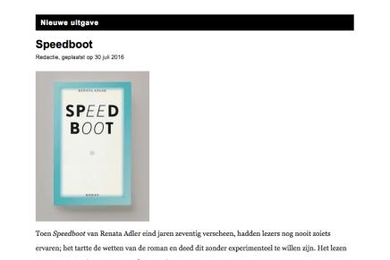Speedboot, Renata Adler
