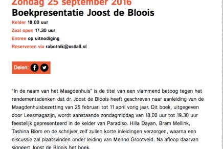 Zondag 25 september 2016 Boekpresentatie Joost de Bloois, 18:00