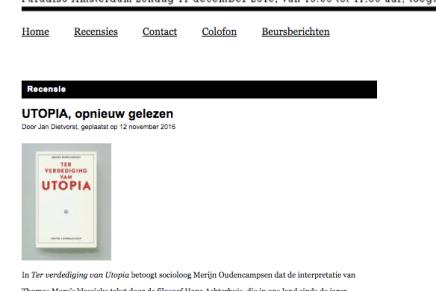 UTOPIA, opnieuw gelezen,  Jan Dietvorst, 12 november 2016