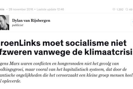 Dylan van Rijsbergen, GroenLinks moet socialisme niet afzweren vanwege de klimaatcrisis, Joop, 28 november 2016