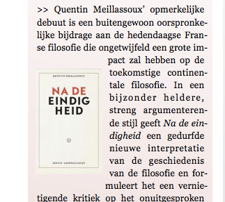 Quentin Meillassoux, Na de eindigheid, signalement in IFilosofie, dec. 2016