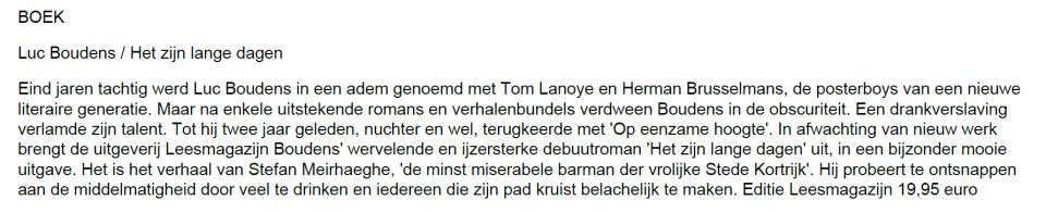 Het zijn lange dagen, Luc Boudens, Editie Leesmagazijn