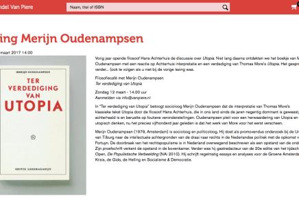 Lezing Merijn Oudenampsen, Boekhandel van Piere, Eindhoven, zondag 12 maart 2017, 14.00