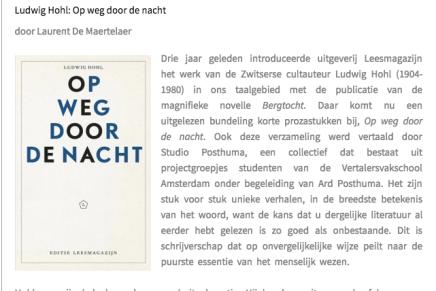 Ludwig Hohl: Op weg door de nacht door Laurent De Maertelaer @Mappa Libri