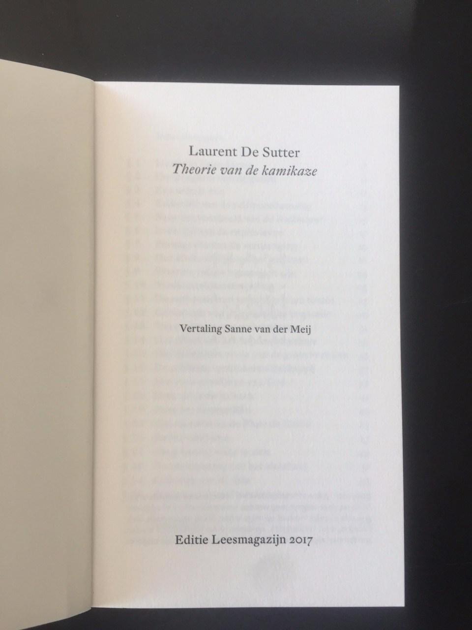 Laurent de Sutter, Kamikaze
