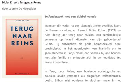 Zelfonderzoek met een dubbel vonnis,Didier Eribon: Terug naar Reims  Laurent De Maertelaer, MappaLibri