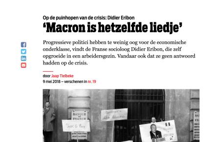 Didier Eribon 'Macron is hetzelfde liedje', Jaap Tielbeke, De Groene, 9 mei 2018