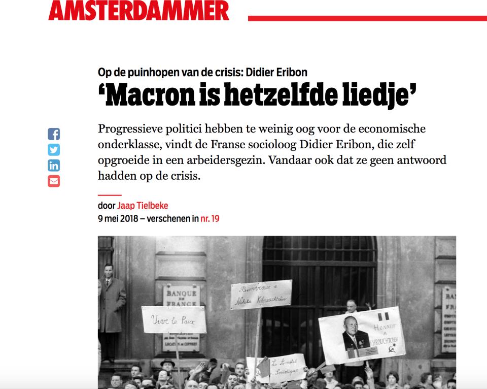 Op de puinhopen van de crisis: Didier Eribon 'Macron is hetzelfde liedje'
