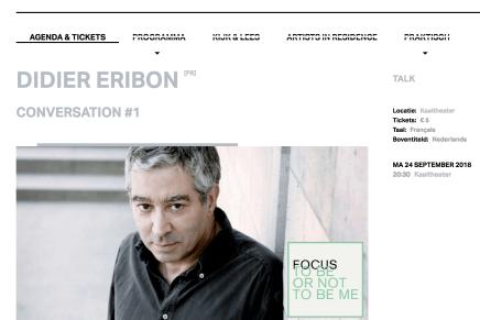 Didier Eribon, 24 september 2018, Kaaitheater, Brussel
