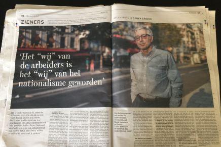 """Het """"wij"""" van de arbeiders is het """"wij"""" van het nationalisme geworden', interview met Didier Eribon, Ruud Goossens, De Standaard, 4 augustus 2018"""