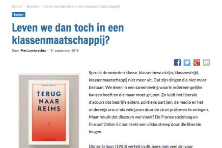Leven we dan toch in een klassenmaatschappij?, Piet Lambrechts – Uitpers, 21 september 2018