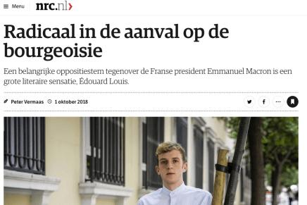 Radicaal in de aanval op de bourgeoisie, Peter Vermaas, NRC, 1 oktober 2018