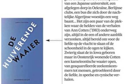 De huiverende waaier, Ann Cotten, signalement, De Morgen, 21 november 2018